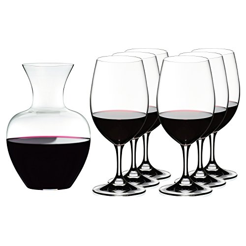 Riedel Ouverture Magnum Glasses + Apple Decanter, Clear, Set of 7 ()