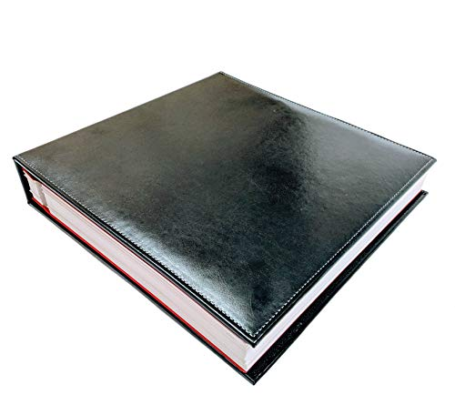 Self adhesive photo album | Black leather | 50 pages 100 sheets | Scrapbook | Wedding | Magnetic sheet | Self Stick | 5x7 | 8x10 | 4x6 | Picture | Family | Large | Travel | Photo book | Vacation (10 Page 5x7 Photo Album)