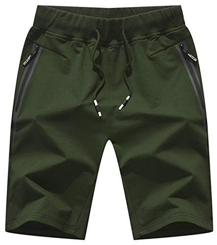 QPNGRP Mens Shorts Casual Drawstring Zipper Pockets Elastic Waist ArmyGreen 30