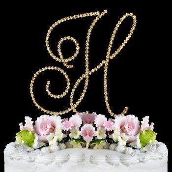 renaissance monogram cake topper gold large letter h