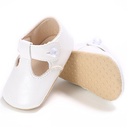 Toddler Baby Girls Moccasions Soft Sole Mary Jane Princess Crib Shoes 0-18Months (3 M Infant, White)