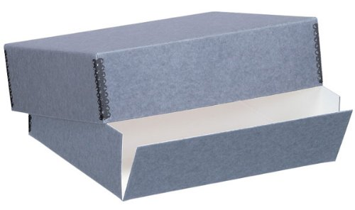 Lineco Museum Archival Drop-Front Storage Box, Acid-Free with Metal Edges, 11 X 17 X 3 inches, Gray (733-1117)