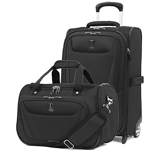 Travelpro Luggage Maxlite 5 | 2-Piece Set | Soft Tote and 22-Inch Rollaboard (Black) (2 Piece Stackable Luggage Set)