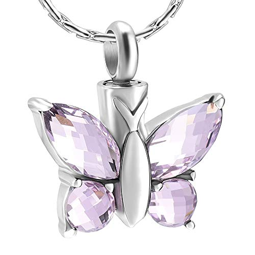 - constantlife Crystal Stone Butterfly Stainless Steel Cremation Urn Pendant Necklace Memorial Urn Necklace