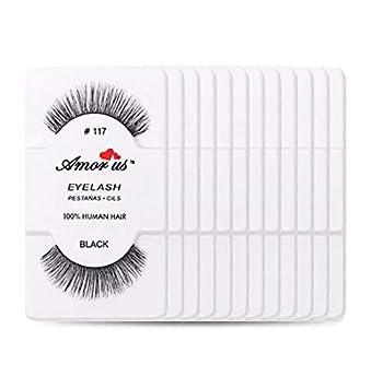 5e51b6b68c0 Amazon.com : Amorus 12 Pairs Multipack #117 False Eyelashes Dozen Set 100%  Natural Hair Black Handmade Comfortable Reusable Strip Fake Lashes Pack :  Beauty