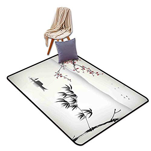 (Inner Door Rug Nature Chinese Waterscape Painting Artwork Print with Bamboo Sakura Trees Birds Boat River Hard and wear Resistant W63 xL102 Black Gray)