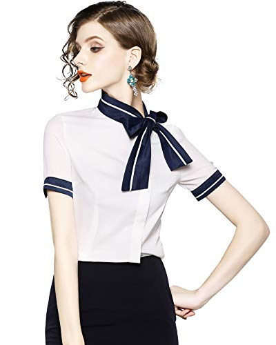 Womens Tie Neck Long Sleeve Casual Office Work Chiffon Blouse Shirts Tops