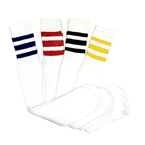 "Dreamfield Mens 5 Pair Classic Multi Striped Sports Tube Socks,Sock Size 10-15 - 24"" inches Long Big and Tall, Assorted"