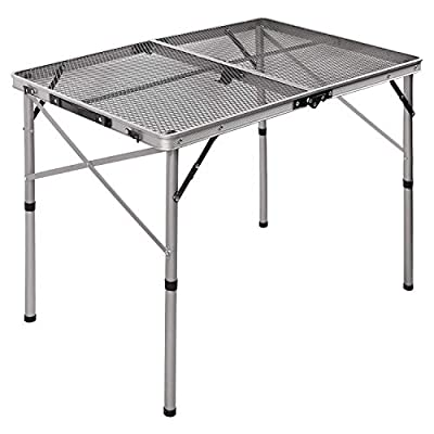 REDCAMP Aluminum Folding Grill Table for Camping, Adjustable Height Lightweight Portable Outdoor Grill Stand Table for Outside Picnic BBQ Beach, Sliver 36x24: Kitchen & Dining