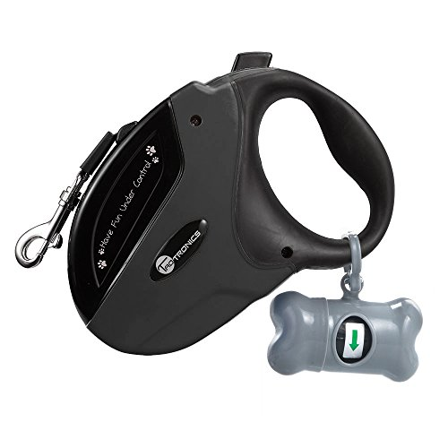 TaoTronics Retractable Dog Leash Black, 16 ft Dog Walking Leash for Medium Large Dogs up to 111lbs, Tangle Free, One Button Break & Lock, Dog Waste Dispenser and Bags Included by TaoTronics