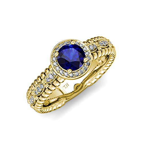 TriJewels Blue Sapphire & Diamond Lavaliere Shank Halo Engagement Ring 1.22 ctw 14K Yellow Gold.size 4.5 ()