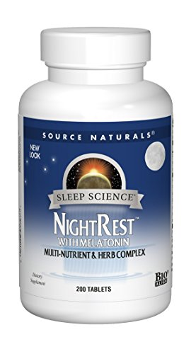 Source Naturals Sleep Science NightRest Multi-Nutrient & Herb Complex With Melatonin, GABA, Passion Flower, Chamomile, Lemon Balm & More - Herbal Formula - 200 Tablets by Source Naturals