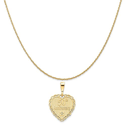 old 50Th Anniversary Charm on a 14K Yellow Gold Rope Chain Necklace, 16