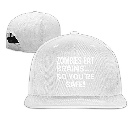 LINNA Custom Unisex Zombies Eat Brains So You're Safe Flat Brim Baseball Caps White