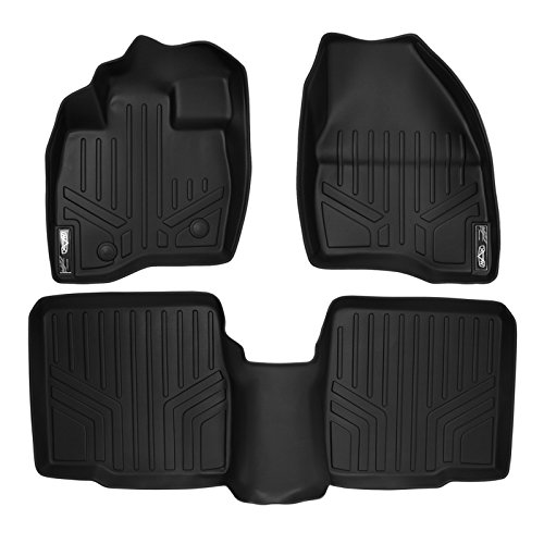SMARTLINER Floor Mats 2 Row Liner Set Black for 2015-2016 Ford Explorer without 2nd Row Center Console