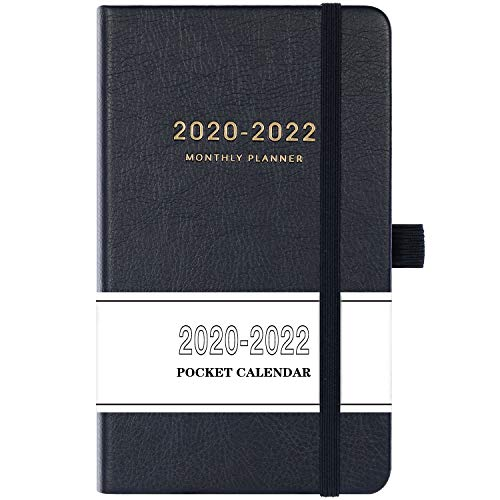 2020-2022 Pocket Calendar - Monthly Pocket Planner (36-Month) with 63 Notes Pages, 3.8 x 6.3, 3 Year Monthly Planner with Contacts, Holidays and Pen Holder, Back Pocket with Thick Paper, Gift Box