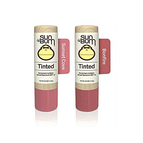 (Sun Bum Tinted Lip Balm, Bonfire & Sunset Cove, SPF 15, UVA/UVB Broad Spectrum Protection, Hypoallergenic, Paraben Free, 4 Count)