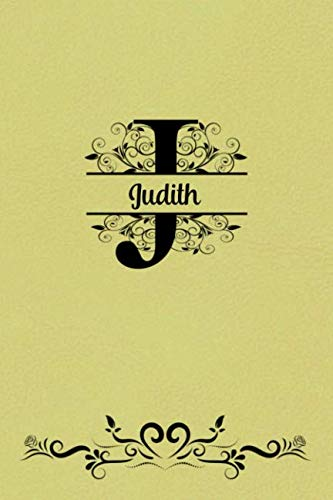 Split Letter Personalized Name Journal - Judith: Elegant Flourish Capital Letter on Light Yellow Leather Look Background