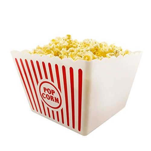 Novelty Place] Plastic Red & White Striped Classic Popcorn Containers for Movie Night - 8