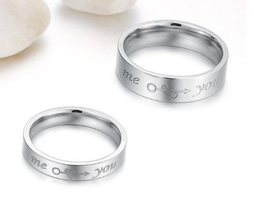 """3Aries Silver Titanium Stainless Steel """"Me Love You"""" Arrow throughed Love Hearts Women Wedding Couple Ring Size 6"""