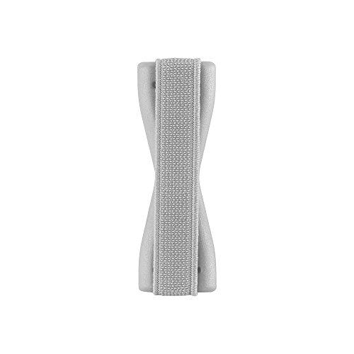 Cadorabo - Sling Grip Dedo Soporte para Smartphones / Tablets / iPod / eReader - Elastic Holder Strap Banda Tira Agarre Mano Correa de Dedo en NEGRO PLATA