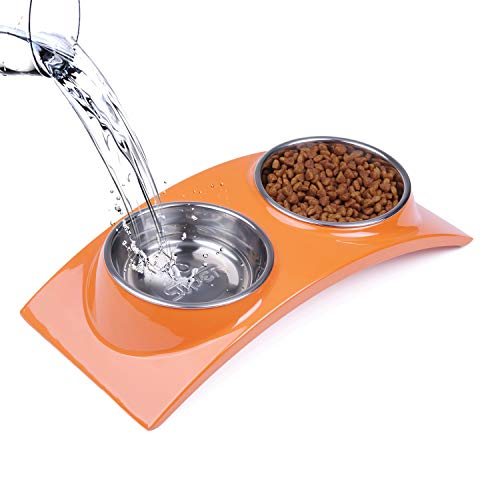 - Super Design Dog Cat Bowl Double Stainless Steel Double Bowl for Food and Water Feeder