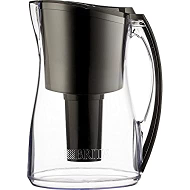 Brita 8 Cup Marina BPA Free Water Pitcher with 1 Filter, Black