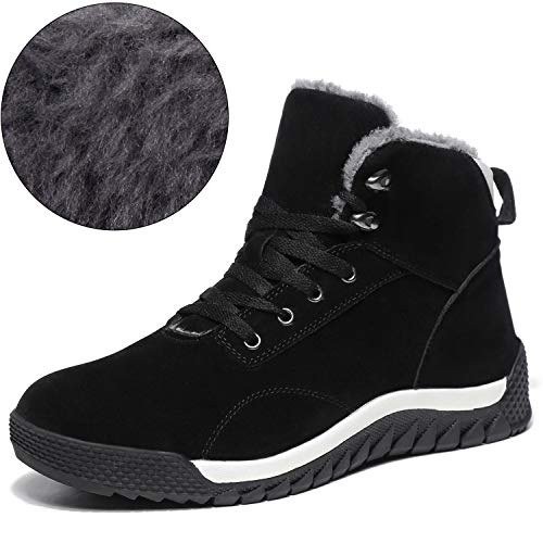 SCIEN Men's Snow Boots Fur Lining Winter Warm Shoes High Top Antiskid Suede Leather Fashion Sneakers, C Black 46