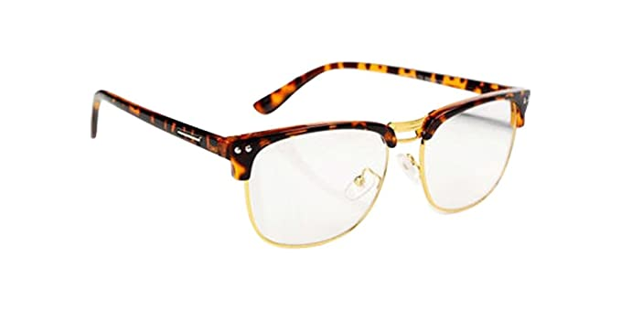 802d475f74 Image Unavailable. Image not available for. Color  Leopard Fashion Hipster  Vintage Retro Semi-Rimless Glasses Clear Lens Nerd Geek Eyewear
