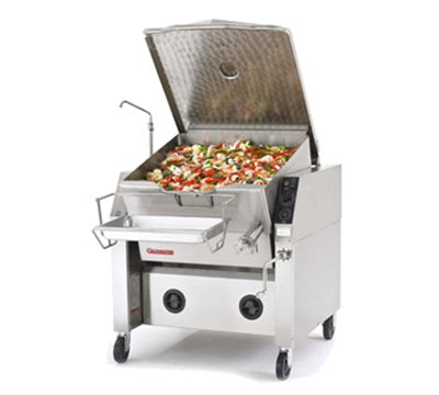 Market Forge 40P-STGM Gas Tilting Skillet 40 Gallon Capacity with Modular Closed Base & Manual Tilt