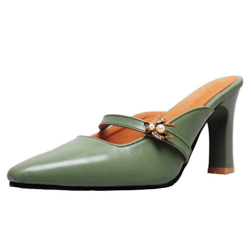 TAOFFEN Green Women Sandals Heels Fashion Mules rZfqr