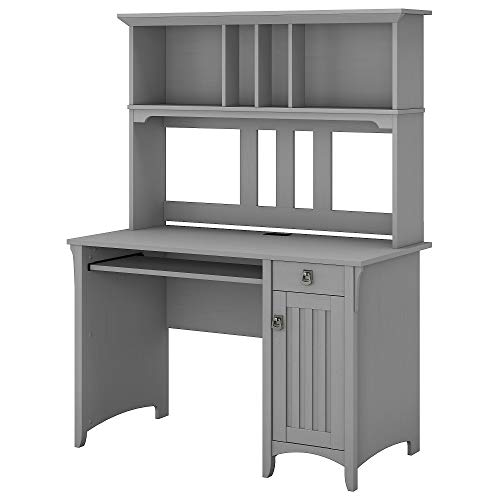 Bush Furniture Salinas Computer Desk with Hutch in Cape Cod Gray