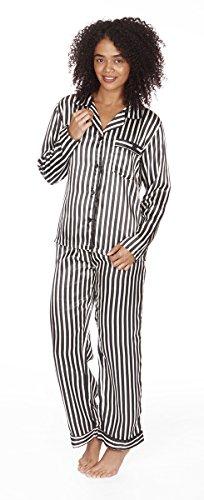 Ladies Satin Long Sleeve Top and Bottoms Striped Pyjama / Pyjamas Set (Large, Black / Cream)