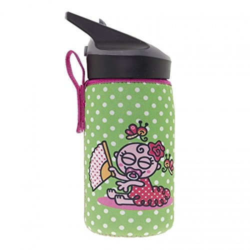 Laken Thermo Jannu Kids Insulated Water Bottle 12oz Straw Cap with Neoprene Cover Katuki Saguyaki Baby Flamenca