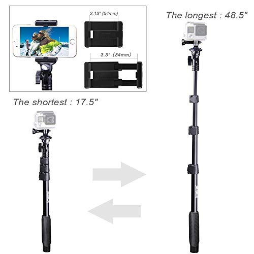 Smatree Y2 Telescoping Pole with Tripod Stand Compatible with GoPro Hero(2018) Fusion 8/7/6/5/4/3/Session/DJI OSMO Action Cameras/AKASO/SJCAM/SJ4000/XiaomiYi Cellphone(Remote Controller NOT Included)