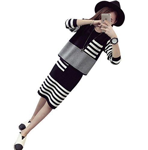(シーワールドストア)SeaWorldStoreファッションレディースセットアップニットスカートセーター青黒ピンク灰赤フリーサイズカジュアル上下可愛い服アパレルZ2765-F-BK