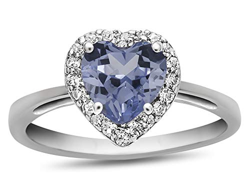 Finejewelers 10k White Gold 6mm Heart-Shaped Simulated Aquamarine with White Topaz accent stones Halo Ring Size 5