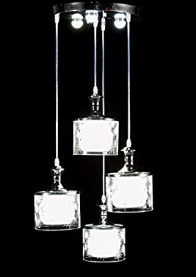 New Galaxy Modern LED Chandelier Chrome Finish Glass Shade 4-light Hanging Pendant Ceiling Lamp Fixture, Bulbs Included, #9393