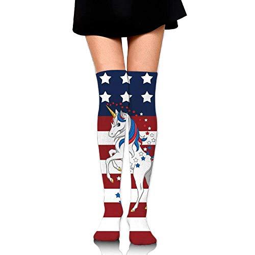 Girdsunp American Flag Unicorn Cotton Compression Socks for Women. Graduated Stockings for Nurses, Maternity, Travel, Flight, Pregnancy, Varicose Veins,Running & Fitness, Calf Support,Funny Socks ()
