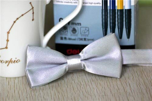 ArMordy - Bow Ties for Boys Girl Accessories School Fashion Tuxedo Neck Tie Bow for Kids Children Bowtie Solid Candy Color Bow Tie [ Silver ]