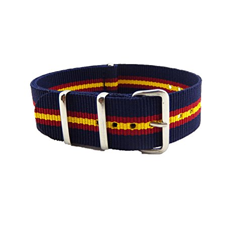 MetaStrap 18mm Nylon Strap Zulu Watch Band with Yellow&Red&Blue Striped Style