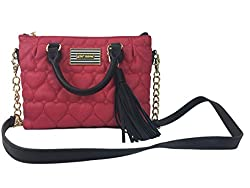 BETSEY JOHNSON PINCH-RED QUILTED CROSS BODY SMALL SATCHEL