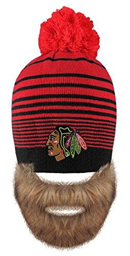 NHL Chicago Blackhawks Men's Bertram Faux Beard Knit Hat with Pom, One Size, Red