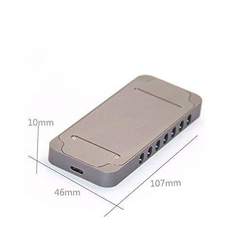 USB Type-C 10Gbps M.2 SSD Enclosure M Key, USB 3.1 To PCI-E NVMe Hard Disk Case Aluminum Design Support 2230 2242 2260 2280 Support Samsung SM951/SM961 (902 CToC, Charcoal Gray) by WBTUO (Image #4)