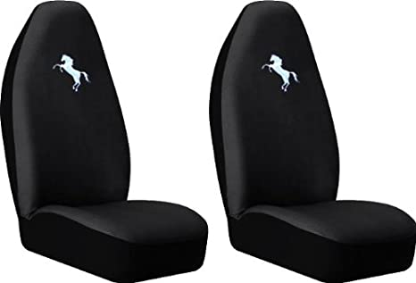 Front High Back Black Seat Covers Set
