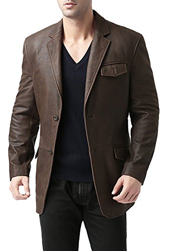 BGSD Men's 2-Button Cowhide Leather Blazer,Buff Dusty Brown,Medium