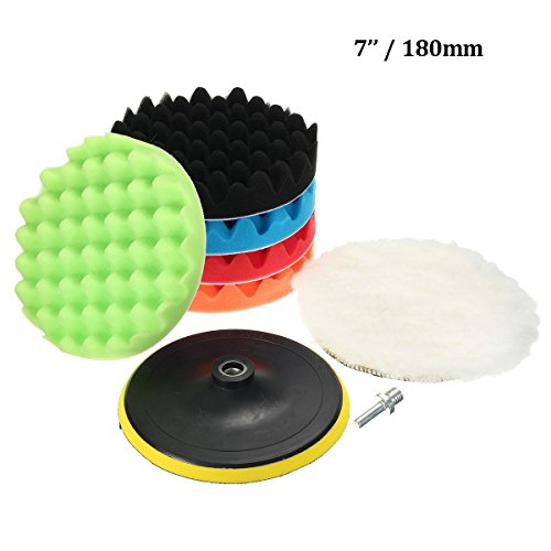 (MATCC 7Pcs 7inch Polishing Pads,Sponge and Woolen Polishing Waxing Buffing Pads Kits with M14 Drill Adapter, 7inchs)