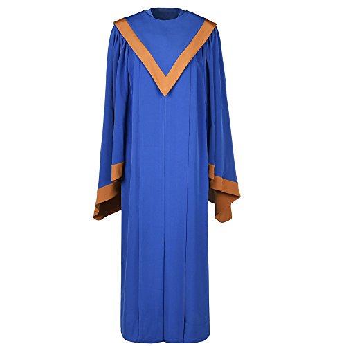 Leishungao Majestic Choir Robe with Kente Stole V-Neckline Height 5'9''-5'11'' Royal Blue
