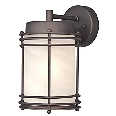 Westinghouse 6230700 Parksville One-Light Exterior Wall Lantern, Oil Rubbed Bronze Finish on Steel with White Alabaster Glass
