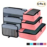 Packing Cubes Organizer Travel Accessories for Luggage 6 Set (Grey Pink)